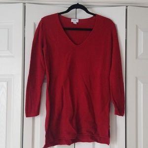 Old navy red vneck tunic sweater medium